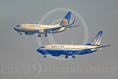 B737 00040 Boeing 737 Continental N24706 and Boeing 737 United N377UA by Peter J Mancus