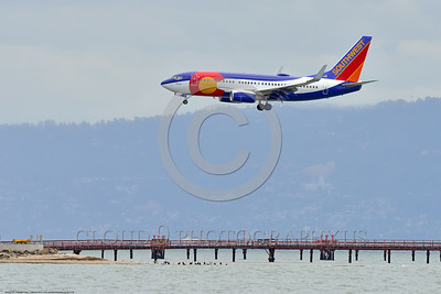 "B737 00004 A landing colorful Boeing 737 Southwest Airline ""Colorado"" ""Easter Egg"" San Francisco 6-2016 airliner picture by Peter J  Mancus"