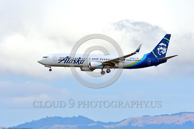 B737 00012 A landing colorful Boeing 737 Alaska Airline N448AS San Francisco 6-2016 airliner picture by Peter J  Mancus