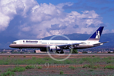 B757 00007 Boeing 757 Britania G-RVAT October 1994 by Peter J Mancus