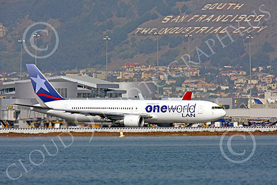 B767 00033 A LAN Airline One World Boeing 767 with winglets taxis at SFO, airliner picture, by Peter J Mancus