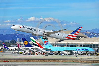 B787 0022 A Boeing 787 Dream Liner, American Airline N821AN, climbing out after take-off at LAX 11-2017, jet airliner picture by Peter J  Mancus     DONEwt