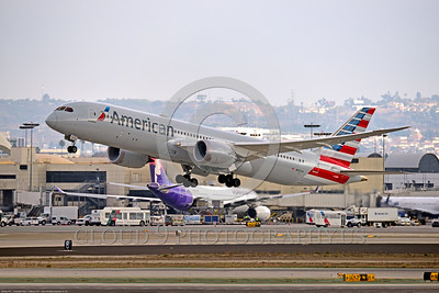 B787 0004 A Boeing 787 Dream Liner, American Airline N825AA, takes off at LAX 11-2017, jet airliner picture by Peter J  Mancus     DONEwt
