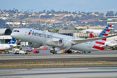 B787 0016 A Boeing 787 Dream Liner, AmericanAirline N826AN, climbing out after take-off at LAX 11-2017, jet airliner picture by Peter J  Mancus     DONEwt