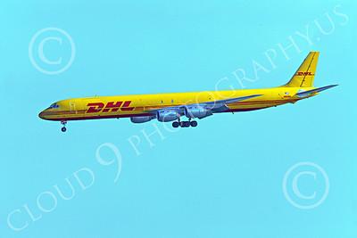 DC-8-C 00030 A DHL Douglas DC-8 jet, N801DH, in landing configuration, by Peter J Mancus