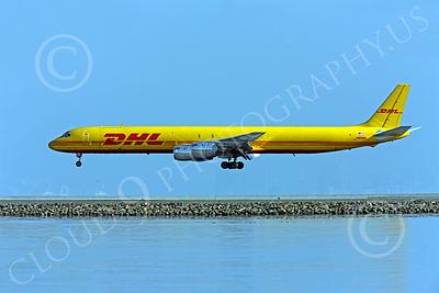 DC-8-C 00024 A DHL Douglas DC-8 jet, N801DH, close to landing at SFO, by Peter J Mancus