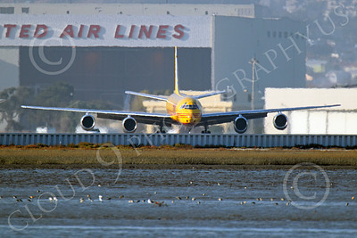 DC-8-C 00019 Frontal view of a DHL Douglas DC-8 jet, N801DH, taxing at SFO, by Peter J Mancus