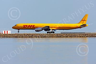 DC-8-C 00033 A DHL Douglas DC-8 jet, N801DH, immediately before touchdown at SFO, by Peter J Mancus