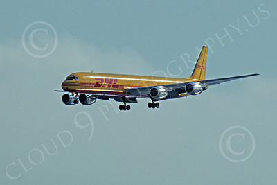 DC-8-C 00011 A DHL Douglas DC-8 jet on final approach to land at SFO, by Peter J Mancus