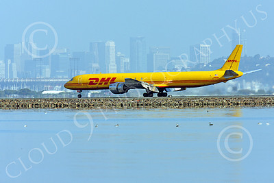 DC-8-C 00031 A DHL Douglas DC-8 jet, N801DH, rolling out after landing at SFO, by Peter J Mancus