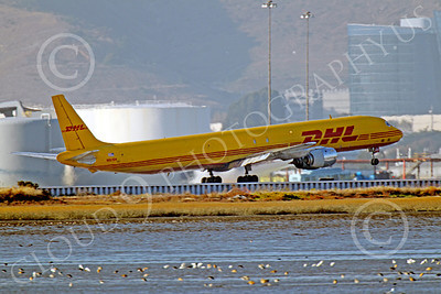 DC-8-C 00029 A DHL Douglas DC-8 jet, N801DH, during its take-off roll at SFO, by Peter J Mancus