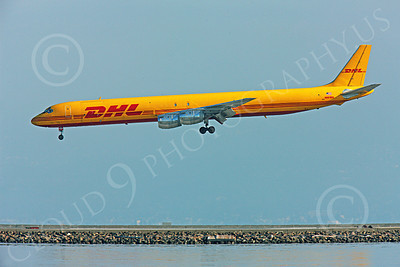 DC-8-C 00013 A DHL Douglas DC-8 jet, N801DH, just prior to landing at SFO, by Peter J Mancus