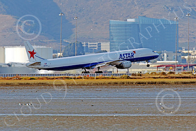 DC-8-C 00026 An ASTAR Air Cargo Douglas DC-8 jet, N873SJ, rotates for take-off at SFO, by Peter J Mancus