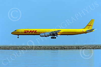 DC-8-C 00024 A DHL Douglas DC-8 jet, N801DH, close to landing at SFO, by Peter J Mancus