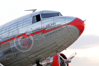 ALPPN 00006 Close up of the nose of a Douglas DC-3 in American Airline Flagship markings, airplane picture, by Jay Shelby Davis