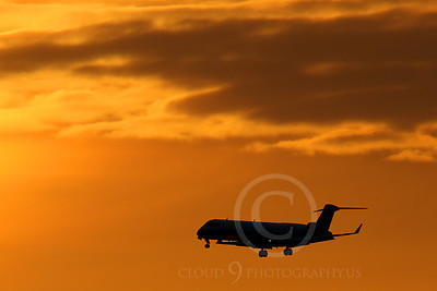 ALPSIL 00018 An Embraer ERJ145 airliner on final approach to land at sunrise, by Peter J Mancus