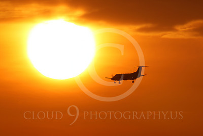 ALPSIL 00003 An Embraer EMB-120 Brasilia airliner on final approach to land at sunrise, by Peter J Mancus