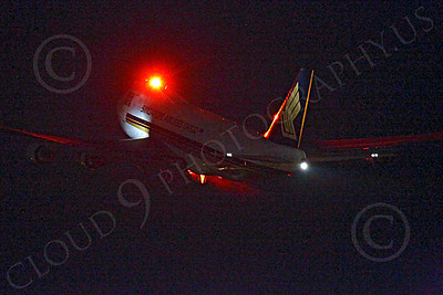 ALCNA 00002 Boeing 747 Singapore Airlines Cargo Mega Ark takes off at night at LAX, by Peter J Mancus