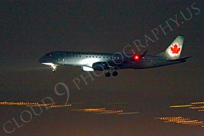 ALPN 00026 Air Canada Embraer 190 landing at SFO in San Francisco at night, by Peter J Mancus