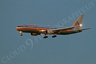 ALPN 00018 American Airline Boeing 767 landing at SFO in San Francisco at night, by Peter J Mancus