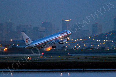ALPN 00011 An American Airline Boeing 767 takes off before sunrise at SFO in San Francisco, by Peter J Mancus