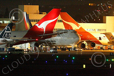 ALPN 00019 Boeing 747 Philippines Airlines taxis out of the international terminal area at night at LAX, by Peter J Mancus