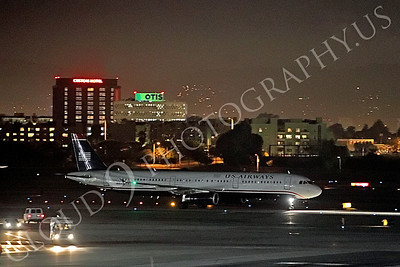 A321 00001 A US Airways Airbus A321 taxis at night at LAX airliner picture, by Peter J Mancus
