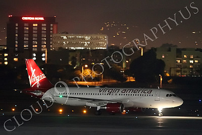 A320 00021 A Virgin America Airbus A320 taxis at night at LAX airliner picture, by Peter J Mancus
