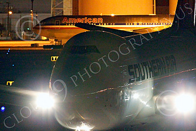 ALCNA 00001 Boeing 747 Southern Air taxis after landing at night at LAX, by Peter J Mancus
