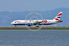 AEE-B777-0004 A Boeing 777 British Airways G-YMML jet airliner with special single red rose markings take-off roll at SFO 4-2016 airliner picture by Peter J  Mancus