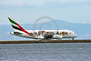 AEE-A380-0004 A Airbus A380 Emirates A6-EOM with special animal markings taxis for take-off at SFO 4-2016 airliner picture by Peter J  Mancus