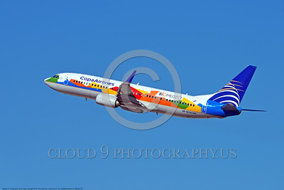 AEE-B737-0004 A flying Boeing 737 Copa Airlines HP-1825CMP jet airliner in special BIOMUSEO color scheme 2015 airliner picture by Carl E  Porter