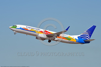 AEE-B737-0003 A Boeing 737 Copa Airlines HP-1825CMP jet airliner in special BIOMUSEO color scheme climbs out after take-off at LAX 2015 airliner picture by Carl E  Porter