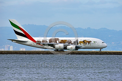 AEE-A380-0003 A Airbus A380 Emirates A6-EOM with special animal markings taxis for take-off at SFO 4-2016 airliner picture by Peter J  Mancus