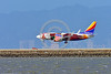 """AEE-B737 0016 A colorful Boeing 737 Southwest Airline N918WN in """"ILLINOIS"""" color scheme lands at SFO 4-2016 jet airliner picture by Peter J  Mancus"""