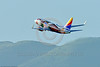 """AEE-B737 0012 A colorful Boeing 737 Southwest Airline N918WN in """"ILLINOIS"""" color scheme climbs out after take-off from SFO 4-2016 jet airliner picture by Peter J  Mancus"""