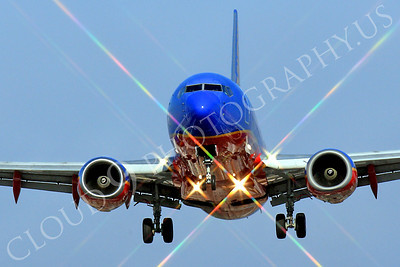 FFAL 00056 A head-on Southwest Airline Boeing 737 about to land airliner picture, by Peter J Mancus