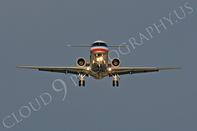 FFAL 00020 A head-on American Eagle Embraer ERJ 145 landing airliner picture, by Peter J Mancus
