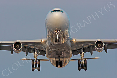 FFAL 00061 A head-on Air France Airbus A340 landing airliner picture, by Peter J Mancus