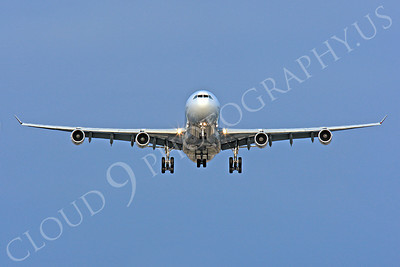 FFAL 00005 A head-on Air France Airbus A340 about to land airliner picture, by Peter J Mancus