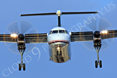FFAL 00070 A head-on Horizon Air Bombardier Dash 8 Series 400 landing airliner picture, by Peter J Mancus