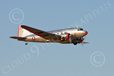 ALPPN 00004 A flying Douglas DC-3 in American Airline Flagship markings, airplane picture, by Jay Shelby Davis