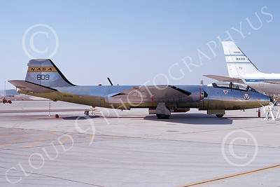 NASA-B-57 00011 A static Martin NASA B-57 Canberra aircraft N809NA Edward AFB 9-1972 airplane picture by Michael Grove, Sr