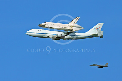 NASA-Space Shuttle 00009 The space shuttle Endeavour in flight on a NASA Boeing 747 N905NA with a NASA F-15 Eagle escort on its last flight on September 21, 2012, by Peter J Mancus