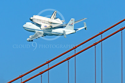 NASA-Space Shuttle 00008 The space shuttle Endeavour on a NASA Boeing 747 N905NA on the Pacific Ocean side of the Golden Gate Bridge on its last flight, by Peter J Mancus