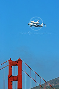 NASA-Space Shuttle 00005 The space shuttle Endeavour in flight on a NASA Boeing 747 N905NA on its last flight over the Golden Gate Bridge on September 21, 2012, by Peter J Mancus