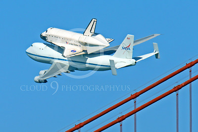 NASA-Space Shuttle 00018 The space shuttle Endeavour in flight on a NASA Boeing 747 N905NA on the Pacific Ocean side of the Golden Gate Bridge on its last flight, by Peter J Mancus