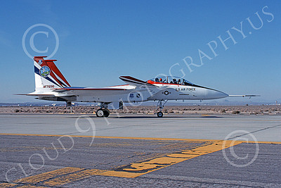 NASA-F-15 00009 A taxing McDonnell Douglas YF-15B Eagle jet fighter NASA 837 71290 Edwards AFB 3-1990 airplane picture by Clark Hansen