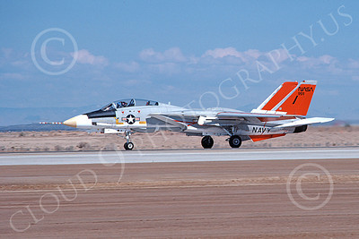 NASA-F-14 00003 A NASA Grumman F-14 Tomcat jet fighter rolls out on Edwards AFB's runway 4-1981 airplane picture by Michael Grove, Sr