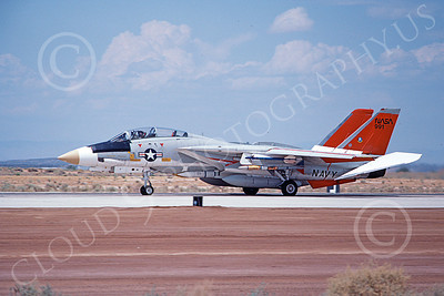NASA-F-14 00005 An armed NASA Grumman F-14 Tomcat jet fighter rolls out on Edwards AFB's runway 8-1982, airplane picture by Michael Grove, Sr